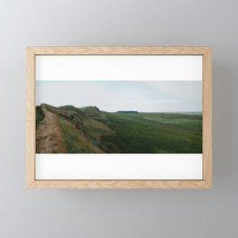 Hadrian's wall in the English vast landscape Framed Mini Art Print