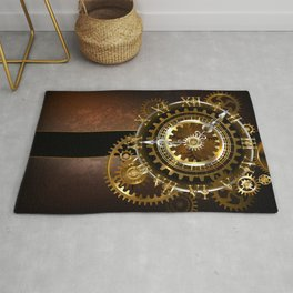 Steampunk Clock with Gears Rug