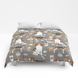 Beagles Coffee print cute dog beagle fabric pillow iphone case Comforters