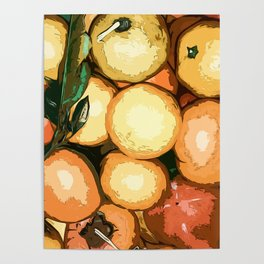 Mandarins and persimmons Poster