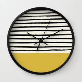 Mustard Yellow & Stripes Wall Clock
