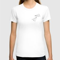 airplanes T-shirts featuring PAPER AIRPLANES by eattheworldraw
