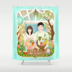 Wedding invitation design for Lisa and Alex Shower Curtain
