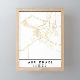 ABU DHABI UNITED ARAB EMIRATES CITY STREET MAP ART Framed Mini Art Print