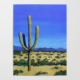 Cactus In the West by Mike Kraus - home decor cactus cacti interiors desert mountains blue yellow Poster