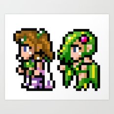Final Fantasy II - Rosa and Rydia Art Print