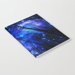 black trees purple blue space Notebook