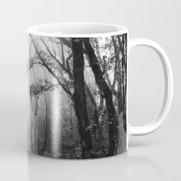 fog forest landscape black and white Coffee Mug