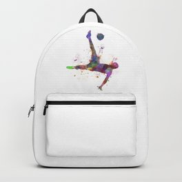 man soccer football player flying kicking silhouette Backpack