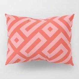 Modern Aztec Tribal Maze Red and Pink Pillow Sham