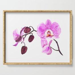 pink orchid flower watercolor painting Serving Tray
