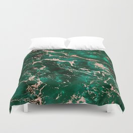 Modern rose gold marble green emerald watercolor pattern Duvet Cover