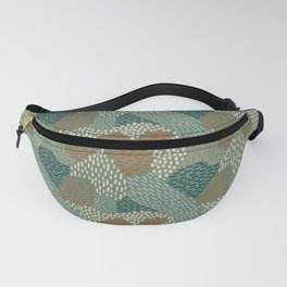 Brush Strokes Abstract Pattern, Olive, Burnt Orange and Teal Fanny Pack