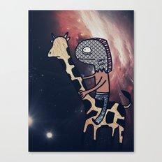 Half Man/Half Fish Riding a Giraffe in Space Canvas Print
