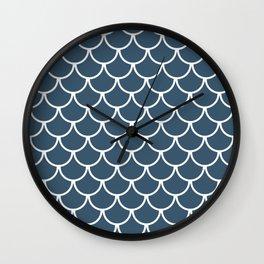 Dusky Blue Fish Scales Pattern Wall Clock