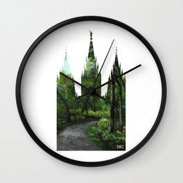 Salt Lake Temple Bike Path Silhouette Wall Clock
