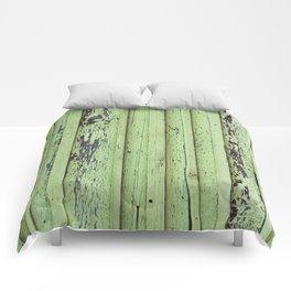 Rustic mint green grunge wood panels Comforters