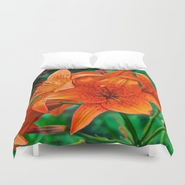 Orange Tiger Lilies - The Peace Collection Duvet Cover