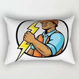African American Electrician Lightning Bolt Mascot Rectangular Pillow