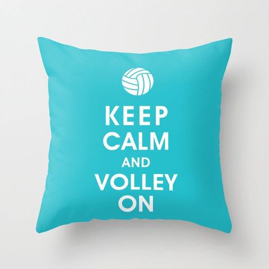 Keep Calm and Volley On (For the Love of Volley Ball) Throw Pillow