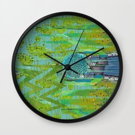 Green Turquoise Jagged Abstract Art Collage Wall Clock
