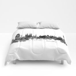 Barcelona Black and White Watercolor Skyline Comforters