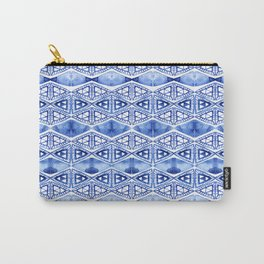 Watercolor blue indigo triangles Carry-All Pouch
