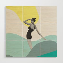 Swimmer Collage Wood Wall Art