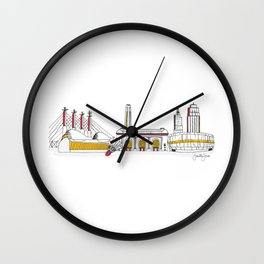 Kansas City Skyline Illustration in KC Football Colors Wall Clock