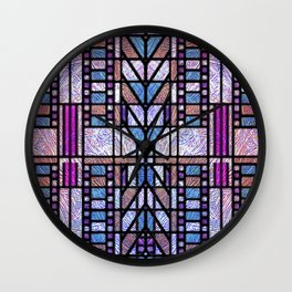 Purple and Blue Art Deco Stained Glass Design Wall Clock