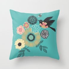 Birds & Bees - Turquoise Throw Pillow