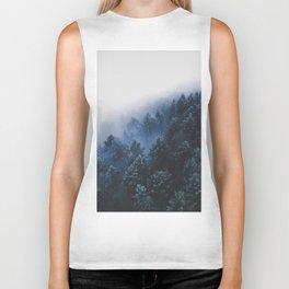 Foggy Blue Purple Mountain hill Pine Trees Landscape Nature Photography Minimalist Modern Art Biker Tank