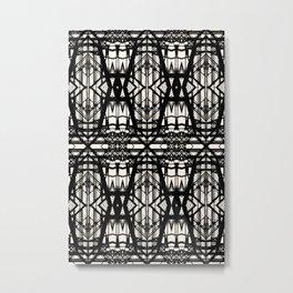 Black White Boho Tribal Metal Print