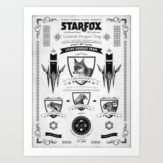 Star Fox Vintage Poster Geek Line Artly Art Print