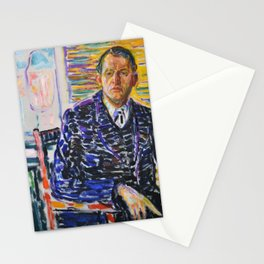 Edvard Munch - Self-Portrait in the Clinc - Digital Remastered Edition Stationery Cards