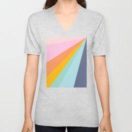 Colorful Retro Abstract Geometric Diagonal Stripes  Unisex V-Neck