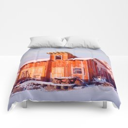 Rural Montana Country Rustic Old Wood ranch Comforters
