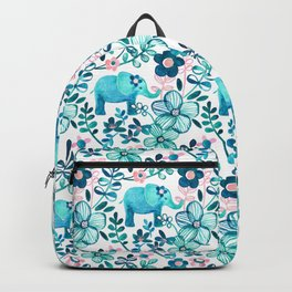 Dusty Pink, White and Teal Elephant and Floral Watercolor Pattern Backpack