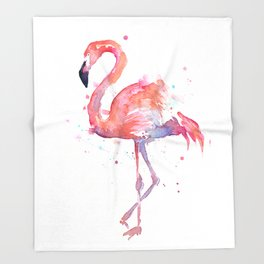 Flamingo Watercolor Throw Blanket