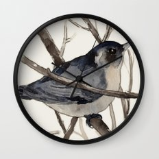 Grey Birdy 2 Wall Clock