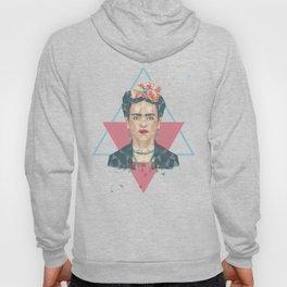 Pastel Frida - Geometric Portrait with Triangles Hoody