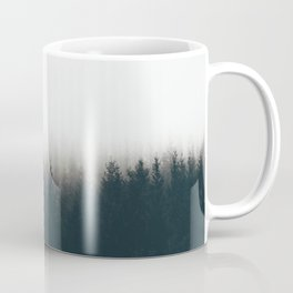 Moody Black & White Pine Misty Foggy Forest Minimalist Landscape Photography Coffee Mug