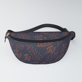 Rust leaves and branches on dark blue Fanny Pack