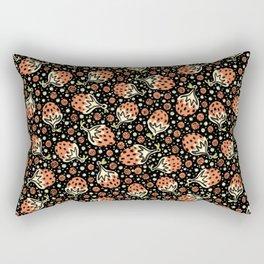 Wild Strawberry Field , Woodcut Style Fruit Pattern Illustration Red on Black Rectangular Pillow