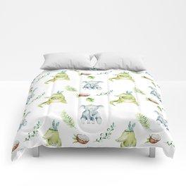 Hand drawn green gray watercolor tropical elephant crocodile pattern Comforters