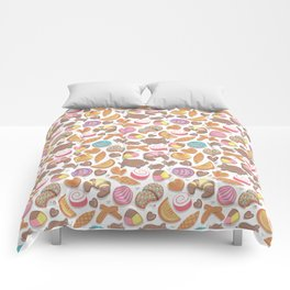 Mexican Sweet Bakery Frenzy // white background // pastel colors pan dulce Comforters