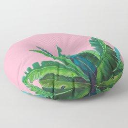 tropical cute leaves pink Floor Pillow
