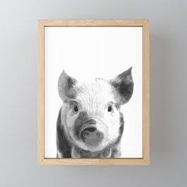 Black and white pig portrait Framed Mini Art Print
