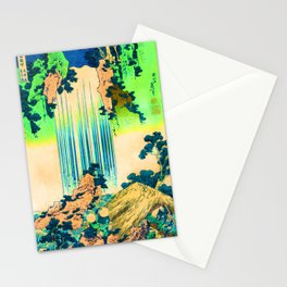 yoro waterfall in mino province remix in green Stationery Cards