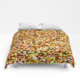 Red yellow pixel noise static pattern Comforters
